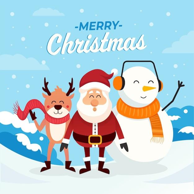 Vrolijk kerstfeest. leuke kerstkarakters. vrolijke kerstmis van santa en vrienden op sneeuwachtergrond. winter landschap.