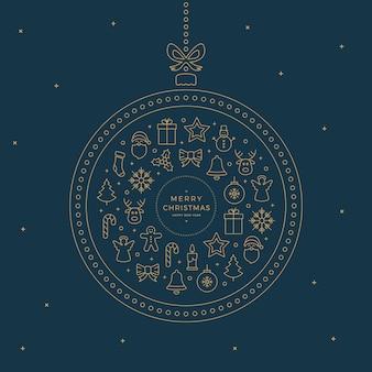Vrolijk kerstfeest lijn iconen elementen goud blauw