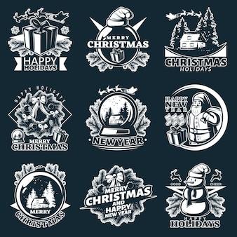 Vrolijk kerstfeest logo set