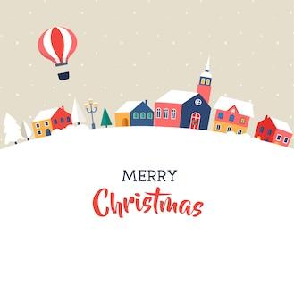 Vrolijk kerstfeest, magisch winterdorp met belettering, moderne poster, wenskaart en illustratie