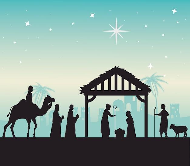 Vrolijk kerstfeest mary joseph baby en drie wijze mannen silhouet ontwerp, winterseizoen en decoratie