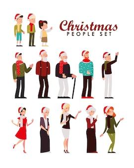 Vrolijk kerstfeest mensen karakter seizoen viering pictogrammen illustratie