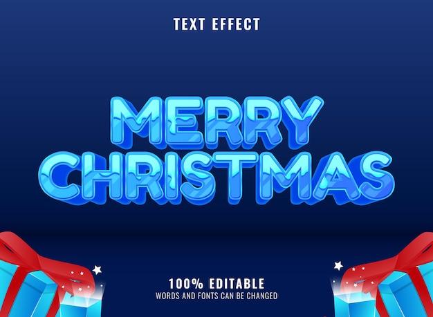 Vrolijk kerstfeest met bewerkbaar teksteffect in sneeuwwinter