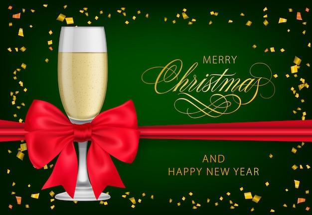 Vrolijk kerstfeest met champagneglas