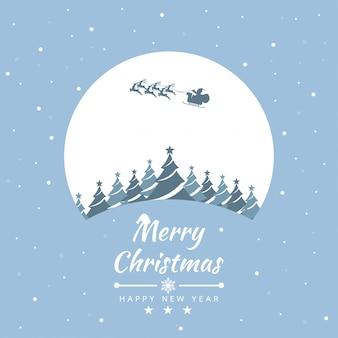 Vrolijk kerstfeest met de kerstman voor kaart, poster