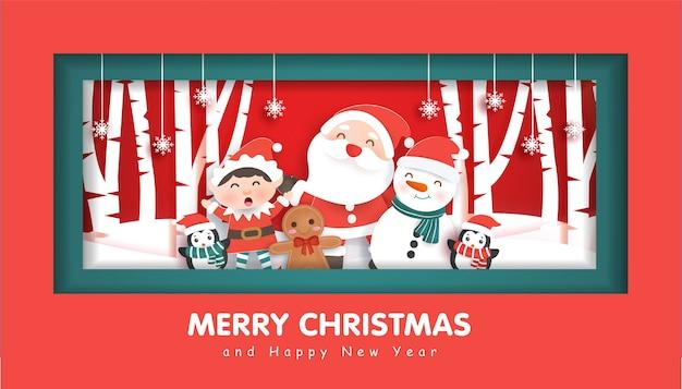 Vrolijk kerstfeest met een kerstman en vrienden voor kerstmis achtergrond, illustratie in papier knippen en ambachtelijke stijl.