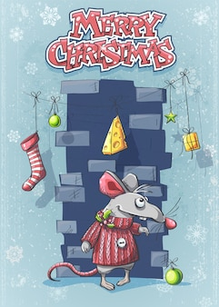 Vrolijk kerstfeest met een schattige cartoonmuis