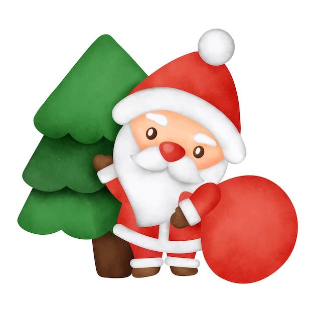 Vrolijk kerstfeest met een schattige kerstman en kerstelementen