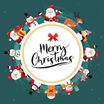 Vrolijk kerstfeest met een sneeuwpop, rendier, pinguïn, geschenkdoos en chocoladekoekjes