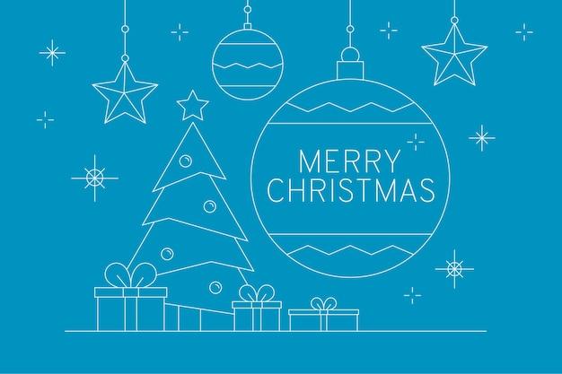 Vrolijk kerstfeest met grote kerstbal en geschenken