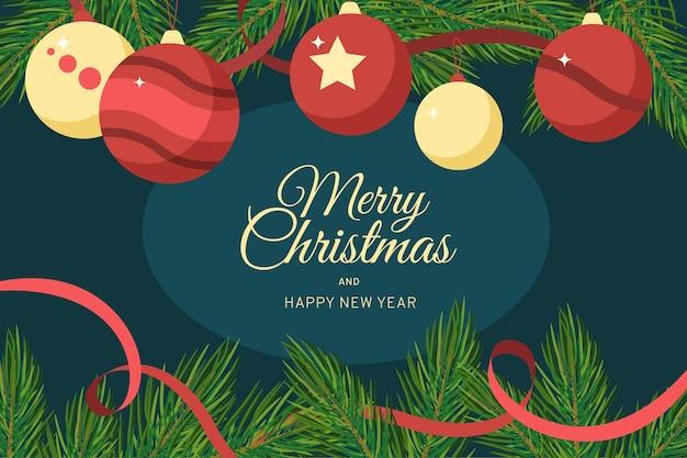 Vrolijk kerstfeest met hangende ballen en lint
