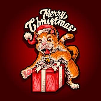 Vrolijk kerstfeest met katten en cadeau