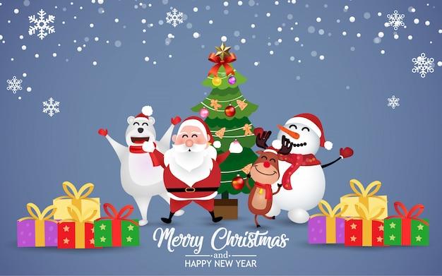 Vrolijk kerstfeest met kerstman en vrienden