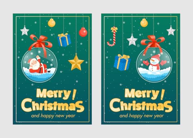 Vrolijk kerstfeest met kerstman geschenken sjabloon wenskaart, glazen bol opknoping.