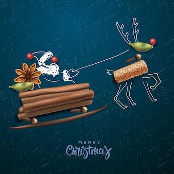 Vrolijk kerstfeest met kerstman geschenken vector sjabloon wenskaart