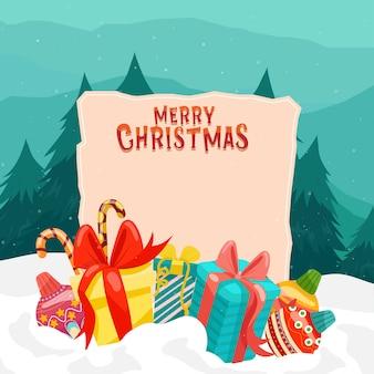 Vrolijk kerstfeest met kleurrijke geschenkdozen en pijnboom