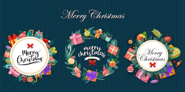 Vrolijk kerstfeest met kleurrijke geschenkdozen versierd in cirkels
