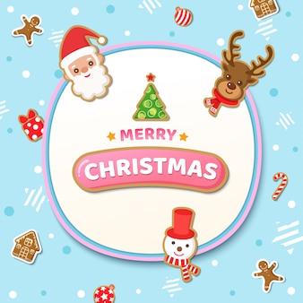 Vrolijk kerstfeest met koekjes voor de kerstman, rendieren, sneeuwpop en ornamenten