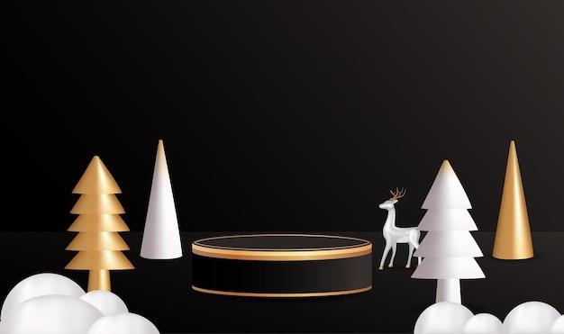 Vrolijk kerstfeest met leeg cilindrisch display