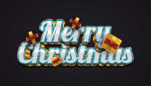 Vrolijk kerstfeest met luxe 3d-belettering en elegante geschenkdoos in zwart en goud