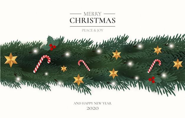 Vrolijk kerstfeest met ornamenten