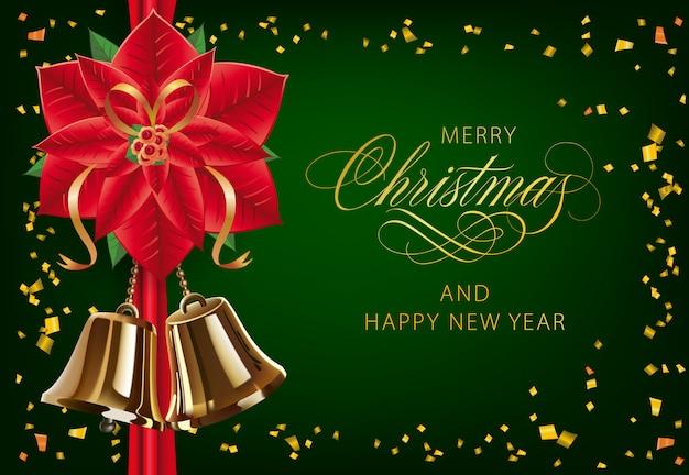 Vrolijk kerstfeest met poinsettia en gouden bellen