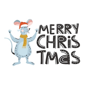 Vrolijk kerstfeest met rat of muis karakter