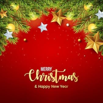 Vrolijk kerstfeest met realistische decoratie met sterren