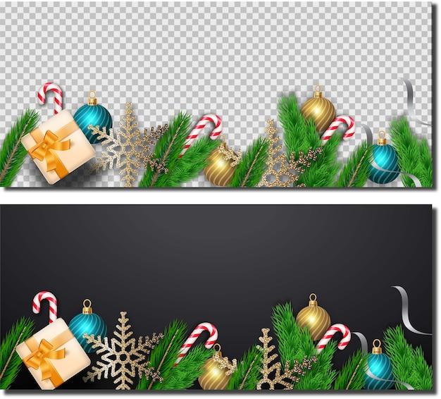 Vrolijk kerstfeest met realistische decoratie