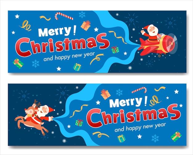 Vrolijk kerstfeest met santa plane banner en santa claus rijden op een rendier.