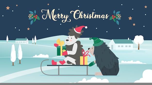 Vrolijk kerstfeest met schattige dieren, cartoon achtergrond