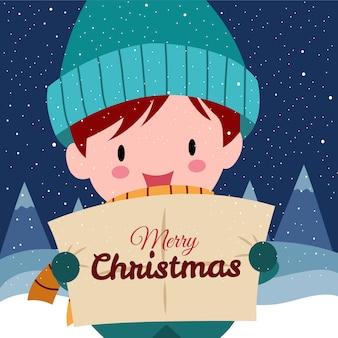 Vrolijk kerstfeest met schattige kawaii handgetekende jongen die winterkostuum draagt