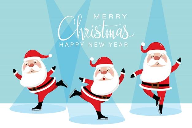 Vrolijk kerstfeest met schattige kerstman en schaatsen.