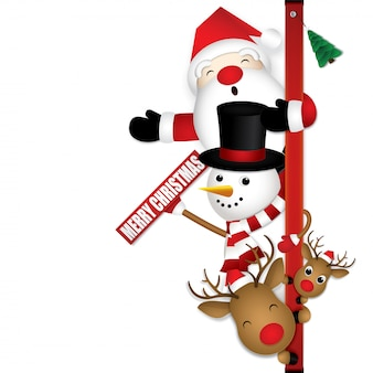 Vrolijk kerstfeest met schattige santa claus rendieren en sneeuwpop.