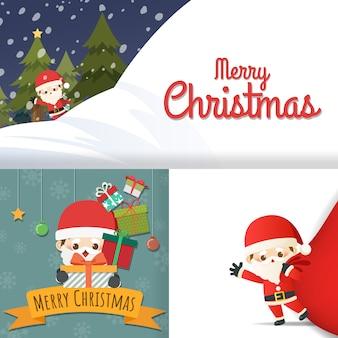Vrolijk kerstfeest met set wenskaarten, schattige stripfiguur kleine kerstman, sneeuwpop, kerstboom, geschenkdoos, sneeuw op kaarten. vector illustratie