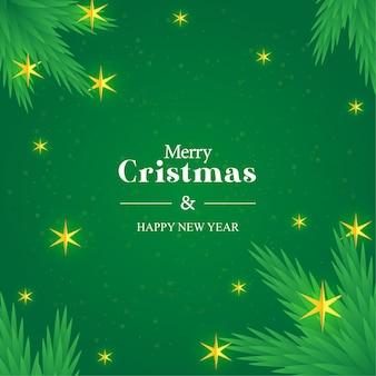 Vrolijk kerstfeest met slingers en sterren gratis vector