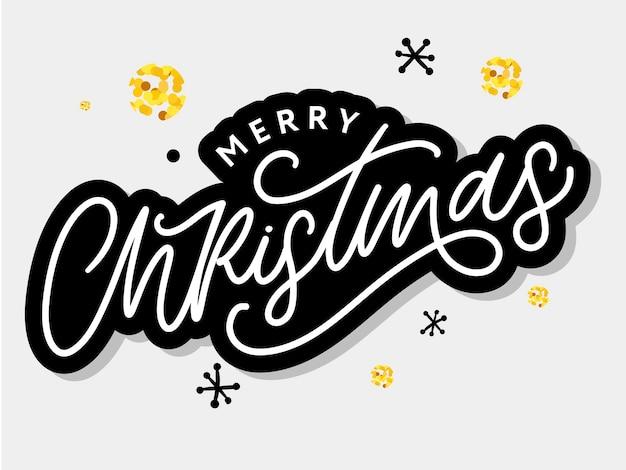Vrolijk kerstfeest mooie wenskaart poster met kalligrafie zwarte tekst woord.