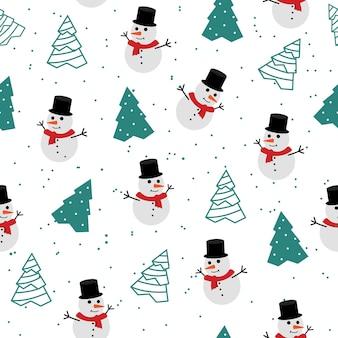 Vrolijk kerstfeest naadloos patroon. gebruik als stof, achtergrond, kaart, enz.