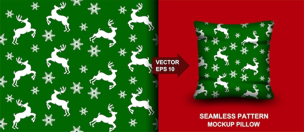 Vrolijk kerstfeest naadloze patroon. herten achtergrond. ontwerp voor kussen, print, mode, kleding, stof, cadeaupapier.