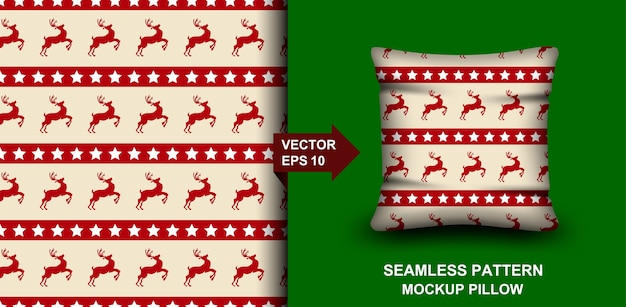 Vrolijk kerstfeest naadloze patroon. hertenontwerp voor kussen, print, mode, kleding.