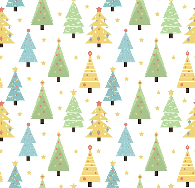 Vrolijk kerstfeest naadloze patroon. leuke kerstbomen