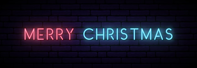 Vrolijk kerstfeest neon banner.