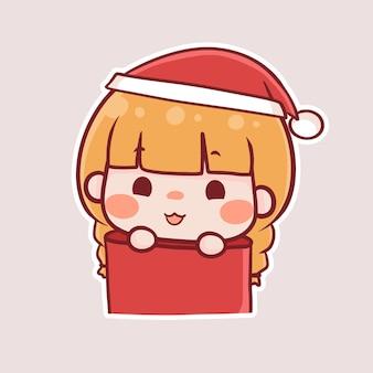 Vrolijk kerstfeest nieuwjaar cartoon chibi veator 65