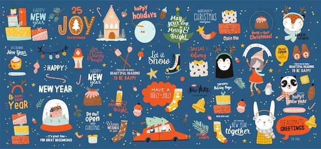Vrolijk kerstfeest of gelukkig nieuw 2021 jaarsjabloon met vakantie belettering en traditionele winter elementen. leuke hand getekend in scandinavische stijl.