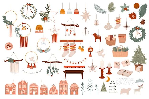 Vrolijk kerstfeest of gelukkig nieuwjaar boho-elementen wintervakantie-element in scandinavische stijl gezellige hygge home decor-elementen bewerkbare illustratie