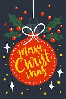 Vrolijk kerstfeest op rode kerstbal. vakantie groet illustratie.