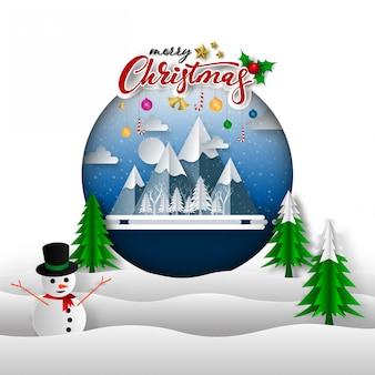 Vrolijk kerstfeest op sneeuw en berg. papierkunst en digitale ambachtelijke stijl, vectorillustratie.