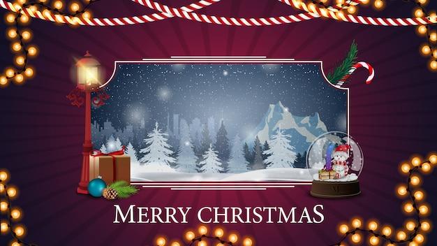 Vrolijk kerstfeest, paarse ansichtkaart met winterlandschap