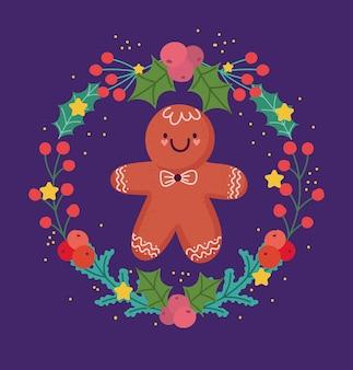 Vrolijk kerstfeest, peperkoek cookie krans bloemen holly berry kaart voor groet vectorillustratie