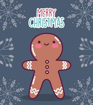 Vrolijk kerstfeest peperkoek man koekje takken decoratie